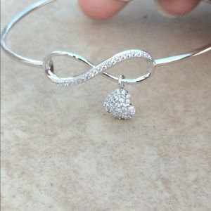 Rhodium Plated Infinity Heart Charm Bangle
